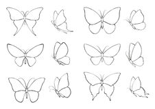 Set  with silhouettes of butterflies Stock Photos