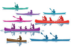 Set of Silhouettes Canoeing and Kayaking Stock Images