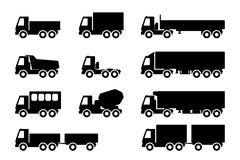 Set of silhouettes the cargo trucks. Stock Photo