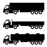 Set of silhouettes the cargo trucks. Stock Photography