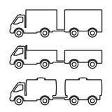 Set of silhouettes the cargo trucks. Royalty Free Stock Photo