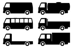 Set of silhouettes the cargo trucks. Royalty Free Stock Photography