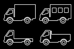 Set of silhouettes the cargo trucks. Stock Image