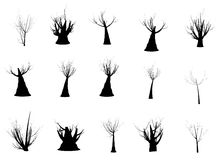 Set of silhouettes of cartoon trees Stock Image