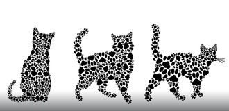Set of silhouettes of cats from the cat tracks Royalty Free Stock Photos