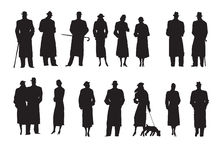Set of silhouettes Characters Retro Stock Photography