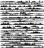 Set of silhouettes of cities a vector. Silhouettes of cities drawn in a vector for their use as templates for designers Stock Image