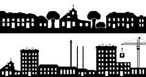 Set of silhouettes cityscapes. Royalty Free Stock Images