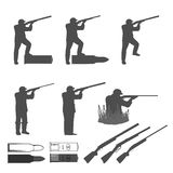 set of silhouettes for the club of hunters Royalty Free Stock Images