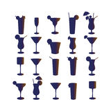 Set of silhouettes of cocktails on a white background Royalty Free Stock Images