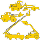 Set of silhouettes  construction machinery. Vector illustration Stock Photo