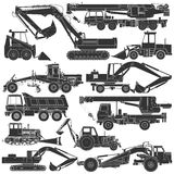 Set of silhouettes of construction machinery Royalty Free Stock Photo