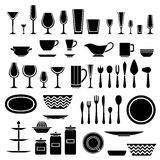 Set of silhouettes of cookware and kitchen Stock Image