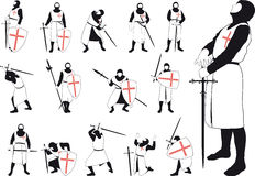Set of silhouettes of the Crusader. Set of silhouettes of Crusader with various weapons in different situations Royalty Free Stock Photography
