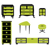 Set silhouettes of cupboard chests black interior Royalty Free Stock Photo