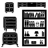 Set silhouettes of cupboard, chests and bookshelf Stock Photo