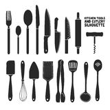 Set of silhouettes cutlery. Spoon, fork, blender, knives. Cutlery for cooking. A set of cutlery for serving. Stock Photo