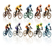 Set of cyclists Royalty Free Stock Photos
