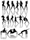 Set of Silhouettes of Dancing Couple and Girls. Stock Photo