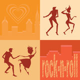 Set of silhouettes dancing couples Royalty Free Stock Photography