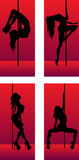 Set of silhouettes dancing girls Stock Image