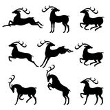 Set silhouettes deer Royalty Free Stock Images