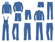 Male denim clothing. A set of silhouettes of denim menswear Royalty Free Stock Photos