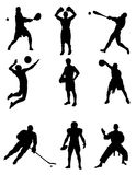 A set of silhouettes of different sports. Stock Photos