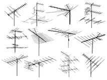 Set of silhouettes of different television aerial wire. Stock Image