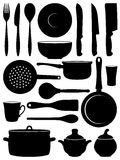 Set of silhouettes dishes. Royalty Free Stock Images