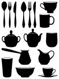 Set of silhouettes dishes. The set of silhouettes dishes Royalty Free Stock Images