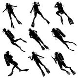 Set silhouettes of divers. Set of silhouettes scuba diving in different poses Royalty Free Stock Photography