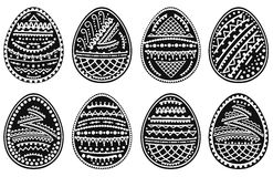 Set of silhouettes of Easter eggs. Vector illustration. Stock Photo
