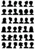 set silhouettes för huvud Fotografering för Bildbyråer