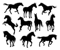 set silhouettes f?r h?st stock illustrationer