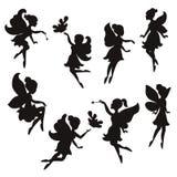 Set of silhouettes of fairies Stock Photo