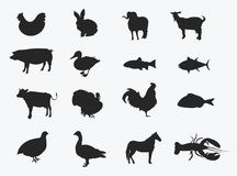 Set of silhouettes of farm animals. Collection of stylized meat animals and fish. Set of black farmer logos. Set of silhouettes of farm animals. Collection of Royalty Free Stock Images