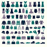 Set silhouettes of fashion Collection Men's and Women Clothes. Vector set silhouettes of fashion Collection Men's and Women Clothes and bags set of of Fashion stock illustration