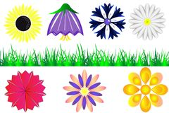 Set of silhouettes of flowers and grass stock illustration