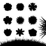 Set of silhouettes flowers isolated on white. Royalty Free Stock Photography