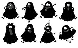 Set with silhouettes of funny ghosts Royalty Free Stock Photography