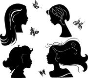 Set of silhouettes girls Royalty Free Stock Image