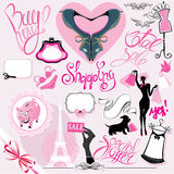 Set of Silhouettes of glamor clothes and accessori Stock Image