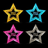 Set of Silhouettes of gold disco star sign Stock Images
