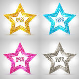 Set of Silhouettes of gold disco star sign. On white background Stock Photos