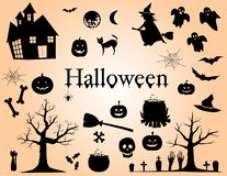 Set of Silhouettes for Halloween Design Elements Vector Illustration royalty free illustration
