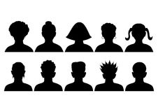 Set of silhouettes of heads Stock Photography