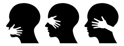 Set silhouettes of heads Stock Image