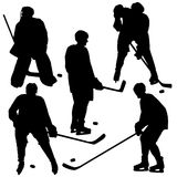 Set of silhouettes of hockey player. Royalty Free Stock Images