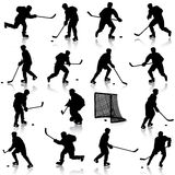 Set of silhouettes of hockey player. Isolated on Royalty Free Stock Photo